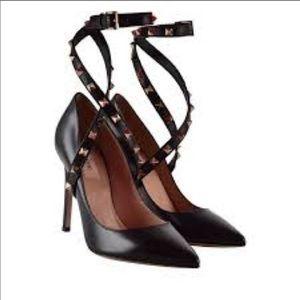 Valentino Rockstud ankle strap heel court.